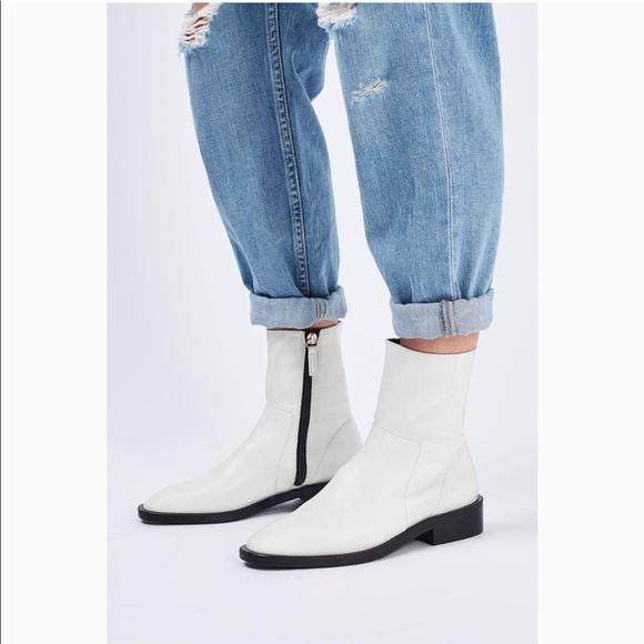 Topshop Artichoke Sock Ankle Boot White